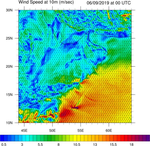Εικόνα 2. Ταχύτητα ανέμου επιφανείας για τον Κόλπο του Ομαν.